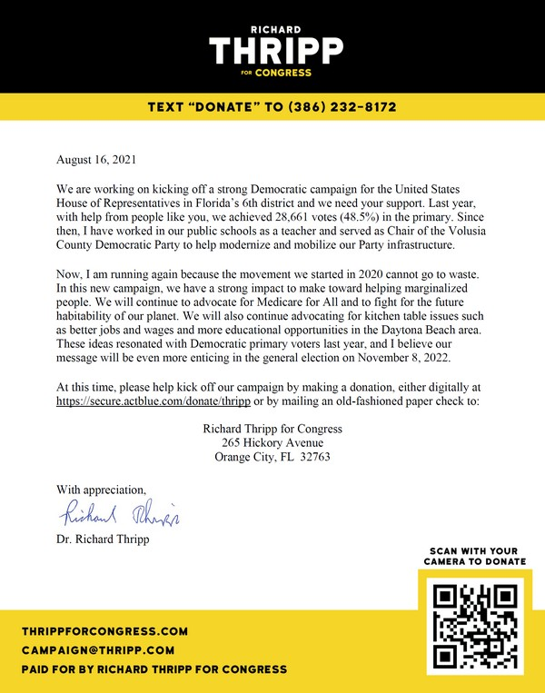 Thripp Campaign Donation Letter