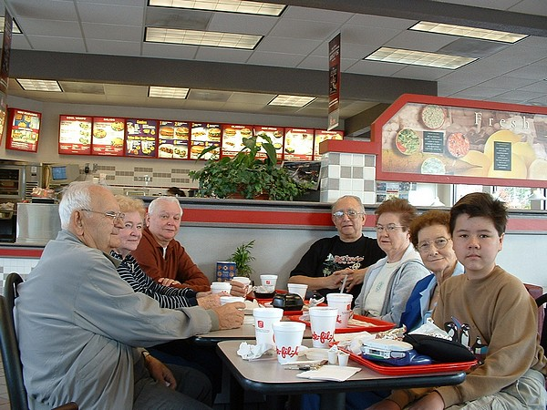 Richard Thripp and friends at Chick-fil-A, 2004-12-31