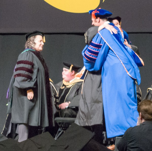 Richard Thripp Hugs Advisor, Dr. Richard Hartshorne