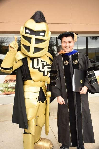 GradImages: Richard Thripp and UCF Mascot, Knightro