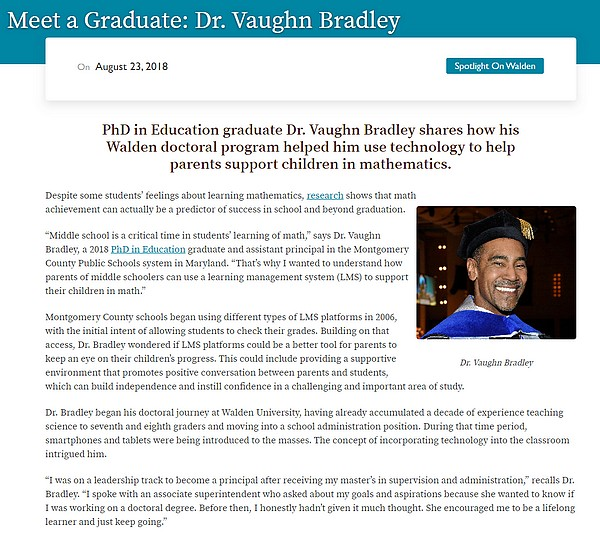 Dr. Bradley's Walden University Announcement