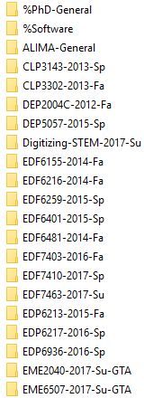 Example List of Folders