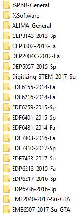 Example List of Folders