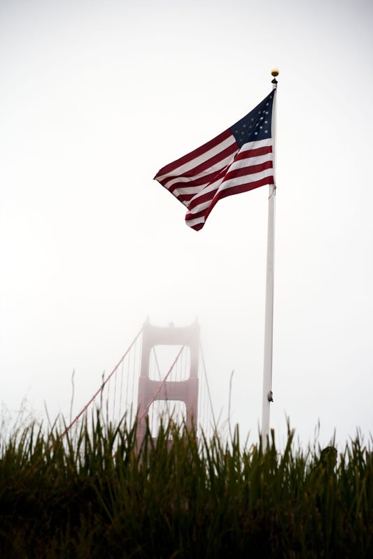 U.S. Flag over the Golden Gate Bridge