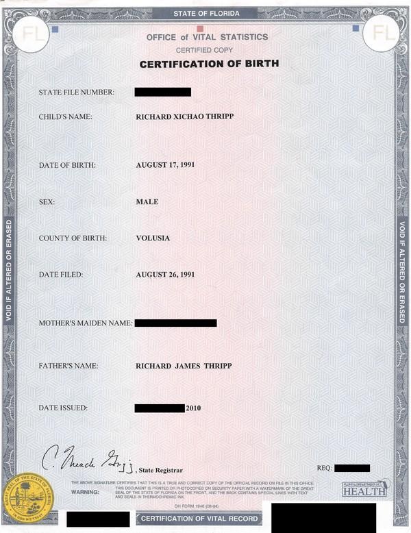 Richard Thripp's birth certificate
