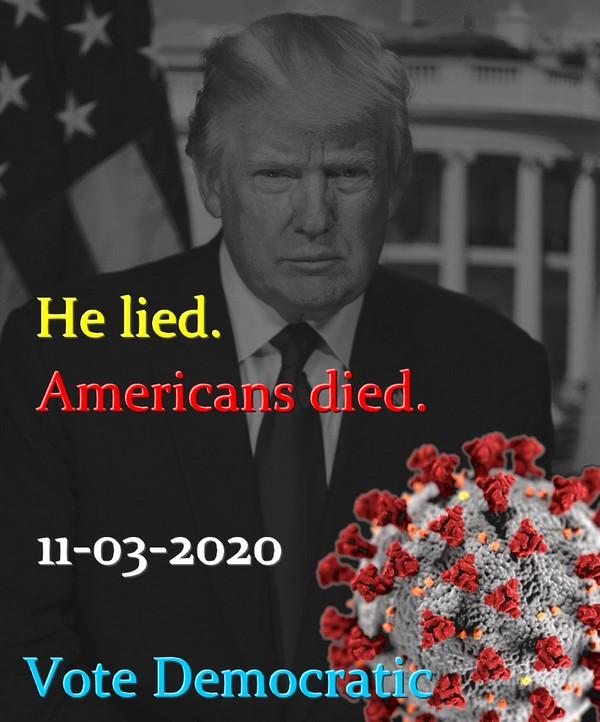 He lied. Americans died. 11-03-2020. Vote Democratic.
