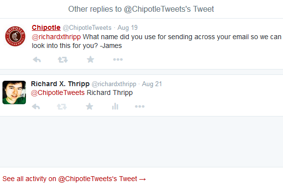 Chipotle Twitter Conversation - Addendum