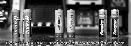 Rechargeable AA batteries and chargers — Photo by Richard X. Thripp