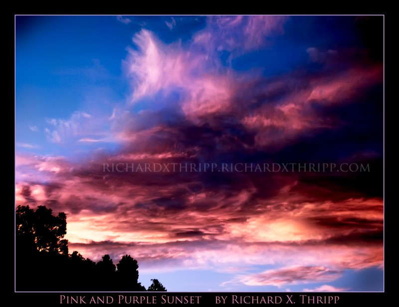 Pink and Purple Sunset — vividly colored clouds and sky