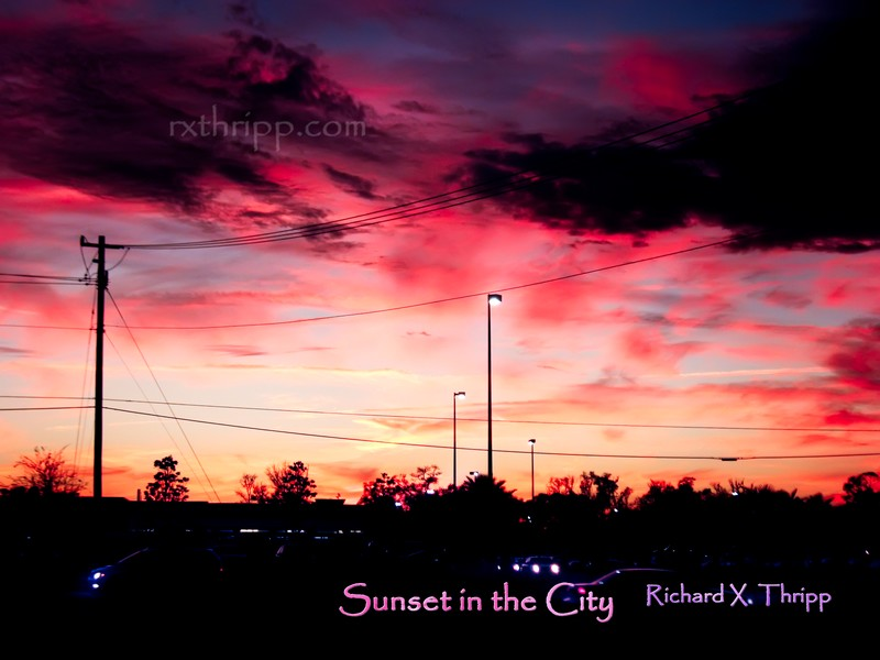 Sunset in the City — power lines, cars, and a beautiful pink sunset