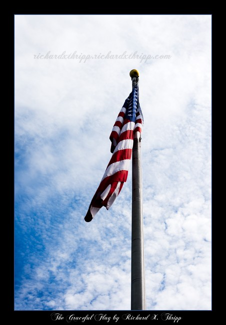 The Graceful Flag — a United States flag keeping still on a windless day