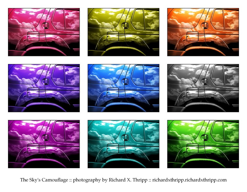 The Sky's Camouflage — a cloudy car in nine colors
