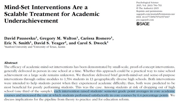 Mind-Set Interventions Are a Scalable Treatment for Academic Underachievement
