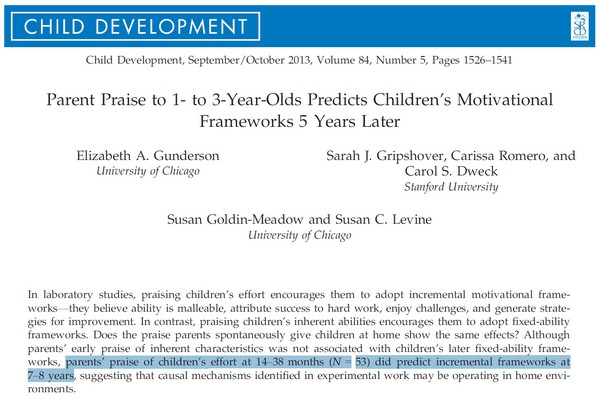 Parent Praise Predicts Children's Motivational Frameworks