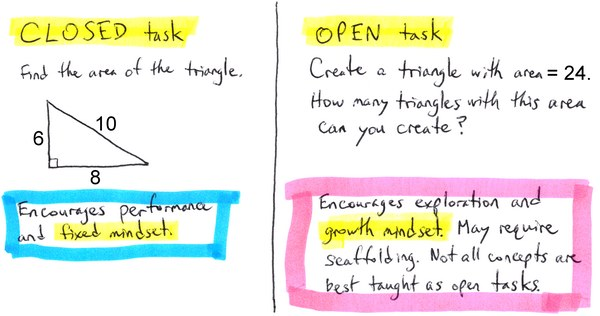 Closed vs. open task example: area of a triangle